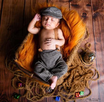 newborn photography chennai baby cute boy handsome cane basket retro brown
