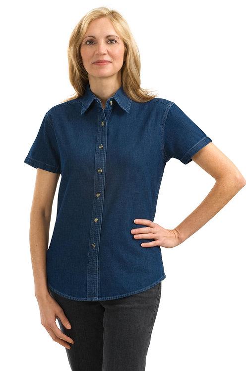 #LSP11 Port & Company Ladies Short Sleeve Denim