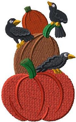 F6009 Crows and Pumpkin Staff