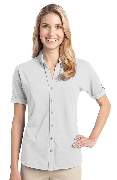 L556  Ladies Stretch Pique Button-Front Shirt