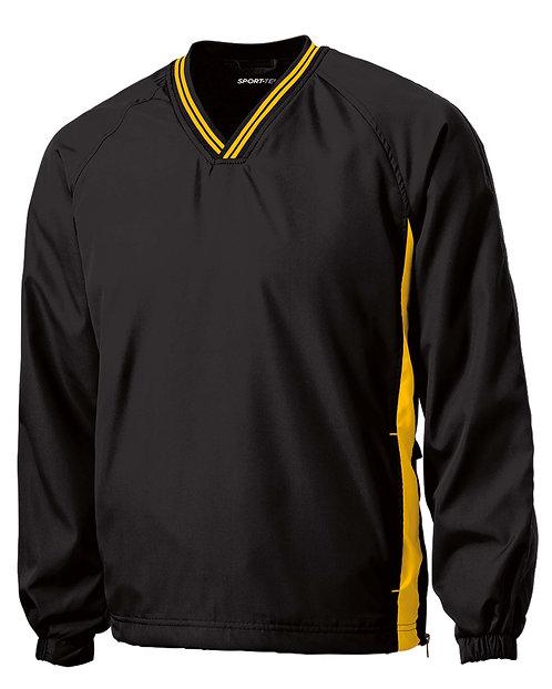 JST62 Tipped V-Neck Raglan Wind Shirt w/Carver Text Logo