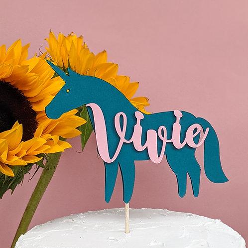 Unicorn Birthday Cake Topper