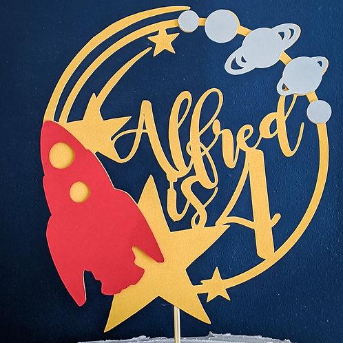 Space Rocket Birthday Cake Topper