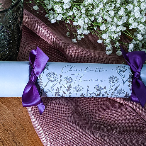 Wildflower Place Name Wedding Crackers Box of Six
