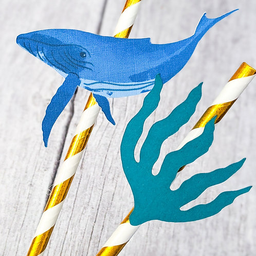 Whale Underwater Themed Party Straws - Pack of 10