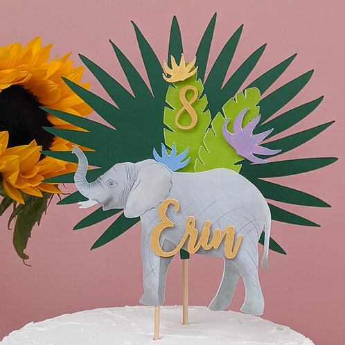 Elephant and Jungle Leaf Cake Topper