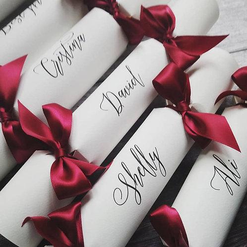 Elegant Script Place Name Wedding Crackers Box of Six