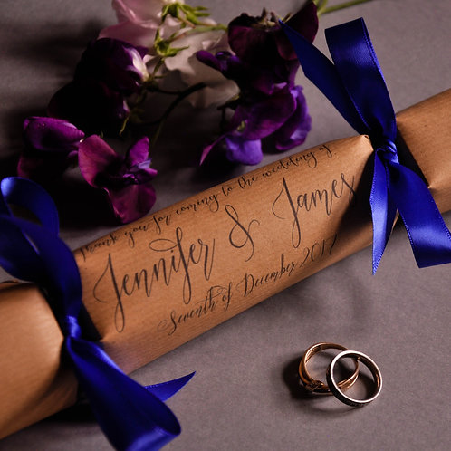 Elegant Script Wedding Favour Crackers
