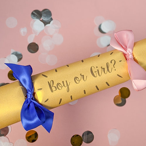 Gender Reveal Cracker! Filled with Pink or Blue Confetti.