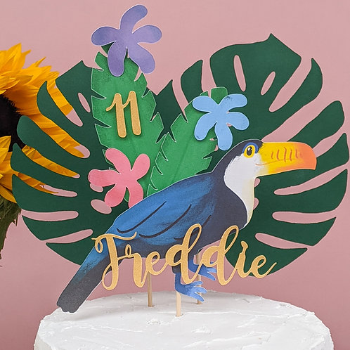 3D Toucan Jungle Leaf Cake Topper