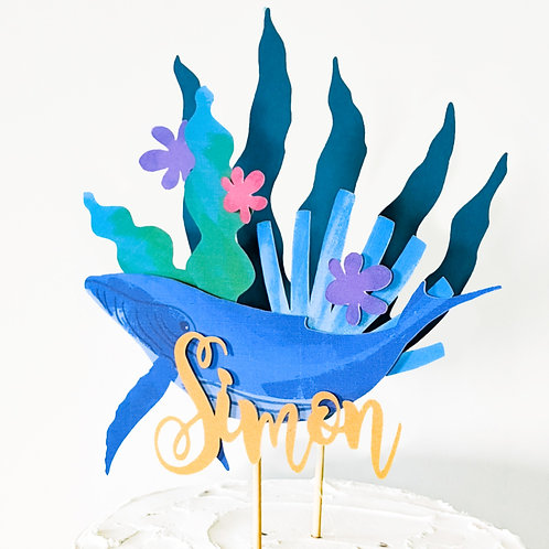 3D Whale Underwater Themed Birthday Cake Topper