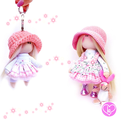 Lolly - Made to Order - Handmade Doll + Keychain Set