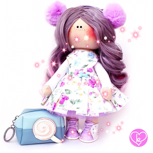Somebody loves purple! - Made to Order - Handmade Doll