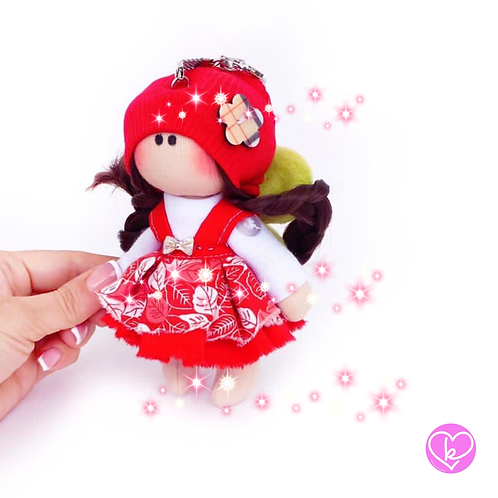 Little Miss Pickle - Ready to go - Handmade Doll Keychain
