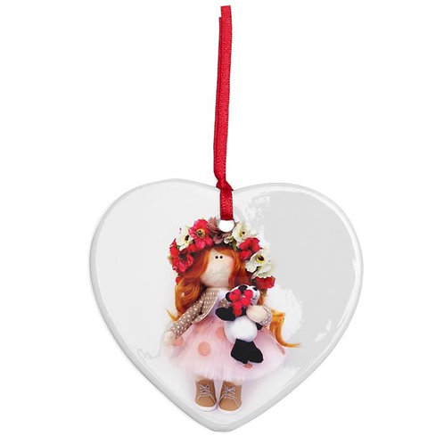 Autumn Flowers - Heart Shaped - Christmas Decoration