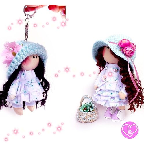 Holly - Made to Order - Handmade Doll + Keychain Set