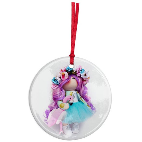 Aqua Flower Girl - Round Shaped - Christmas Decoration