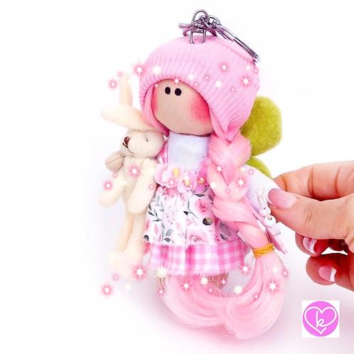Pretty in Pink - Ready to go - Handmade Doll Keychain