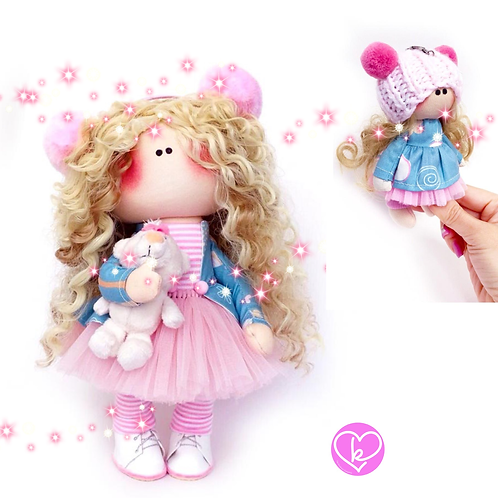 Pretty Polly - Made to Order - Handmade Doll + Keychain Set