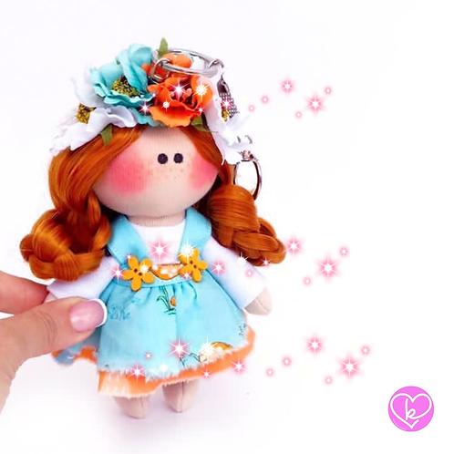 Little Miss Curious - Ready to go - Handmade Doll Keychain