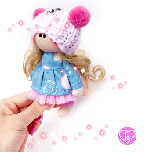 Pretty Polly - Made to Order - Handmade Doll Keychain