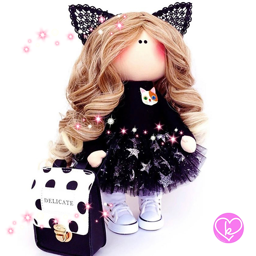 Beautiful Kitty Kat - Made to Order - Handmade Doll