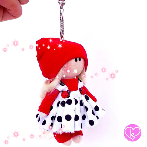 Little Miss Thoughtful - Made to Order - Handmade Doll Keychain