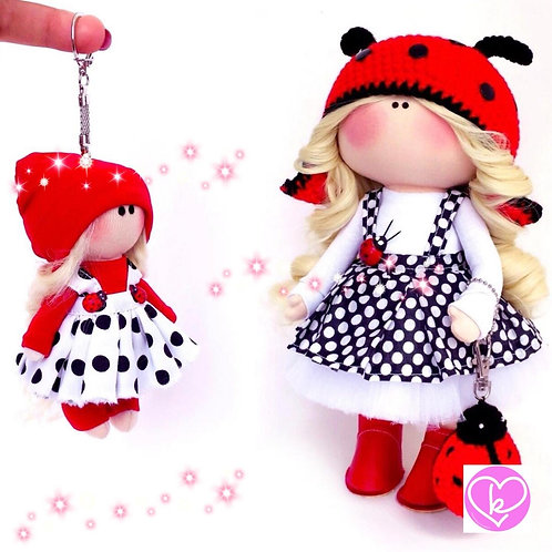 Beautiful Ladybird - Made to Order - Handmade Doll + Keychain Set