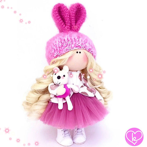Pink Bunnies Smell of Spring time - Made to Order - Handmade Doll