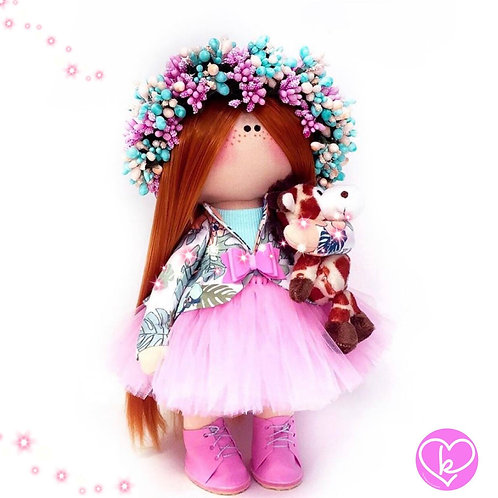 Its a pink boot kind of day - Made to Order - Handmade Doll