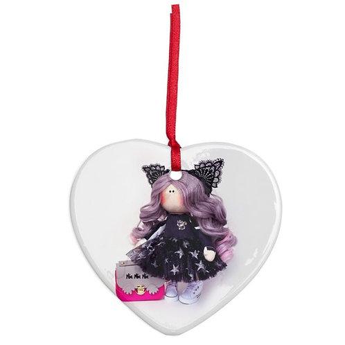 Miss Kitty - Heart Shaped - Christmas Decoration