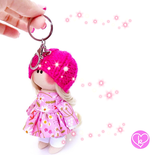 Little Miss Wonderful - Ready to go - Handmade Doll Keychain