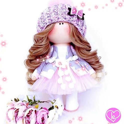 Lilac and Floral Crowns, i smell summer - Made to Order - Handmade Doll