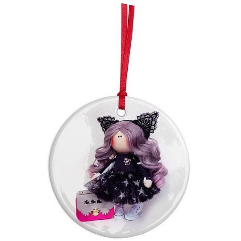 Miss Kitty - Round Shaped - Christmas Decoration