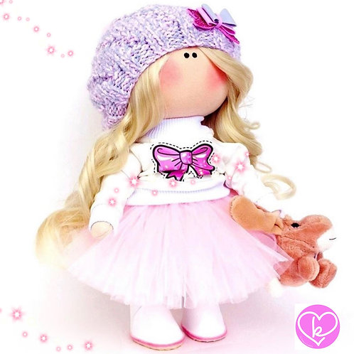 A Teddy is always a Girls Best Friend - Made to Order - Handmade Doll