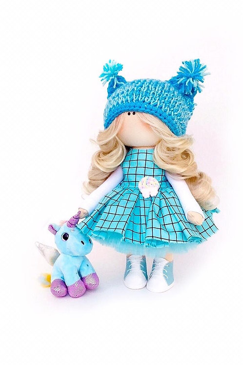 Beautiful Blue Springtime - Made to Order - Handmade Doll
