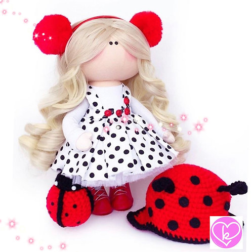Ladybirds are my favourite - Made to Order - Handmade Doll