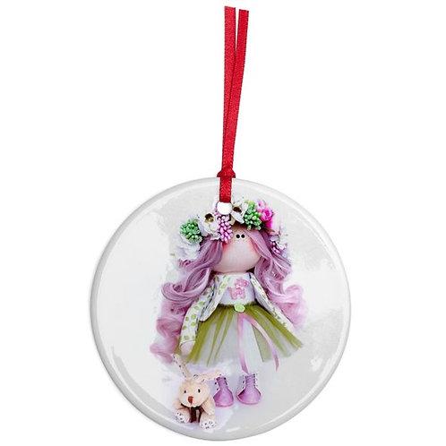 Springtime Girl - Round Shaped - Christmas Decoration