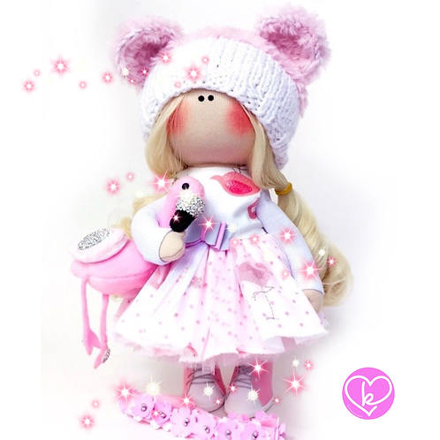 Flamingo's always make me happy - Made to Order - Handmade Doll