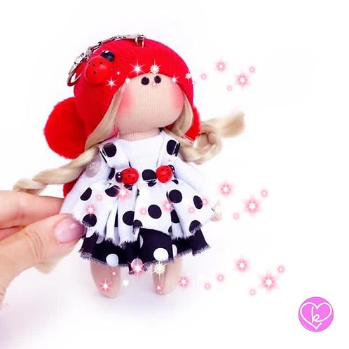 Little Miss Ladybird - Ready to go - Handmade Doll Keychain