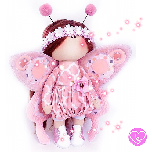 Pretty Pink Butterfly - Made to Order - Handmade Doll