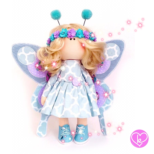Beautiful Blue Butterfly - Made to Order - Handmade Doll