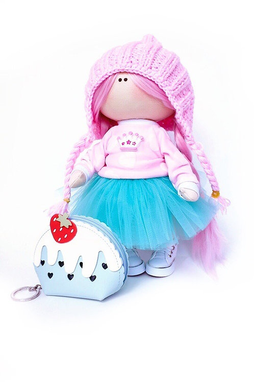 Hattie - Its a Pink hair type of day - Made to Order - Handmade Doll