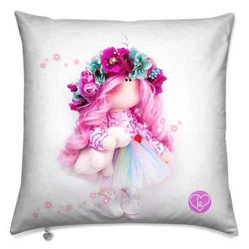 Hyacinth - Pink Hair -  Ready to Go - Scatter Cushion