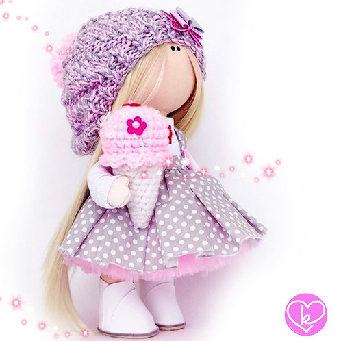 Purple Hats and Ice Creams are my fave - Made to Order - Handmade Doll