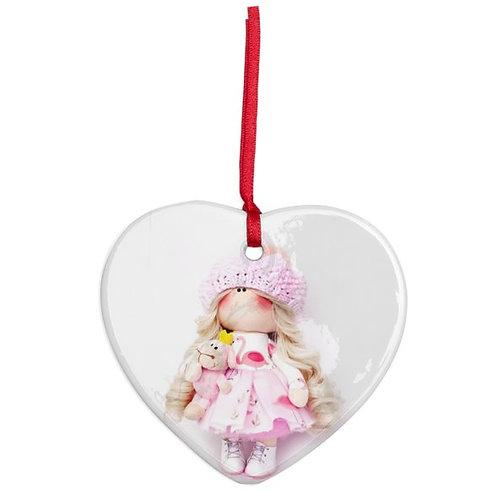 Flamingo Girl - Heart Shaped - Christmas Decoration