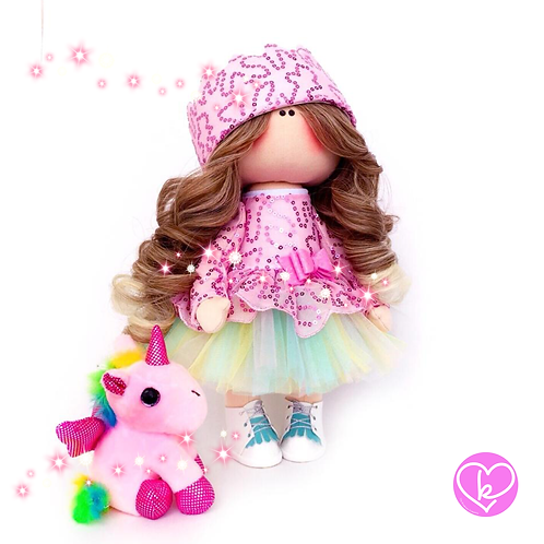 Gorgeous Rainbow Unicorn Princess - Made to Order - Handmade Doll