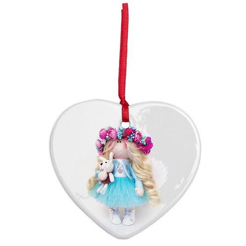 Aqua Flower Girl - Heart Shaped - Christmas Decoration