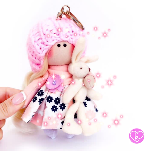 Little Poppet - Ready to go - Handmade Doll Keychain