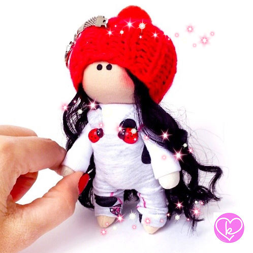 Little Ladybird - Ready to go - Handmade Doll Keychain
